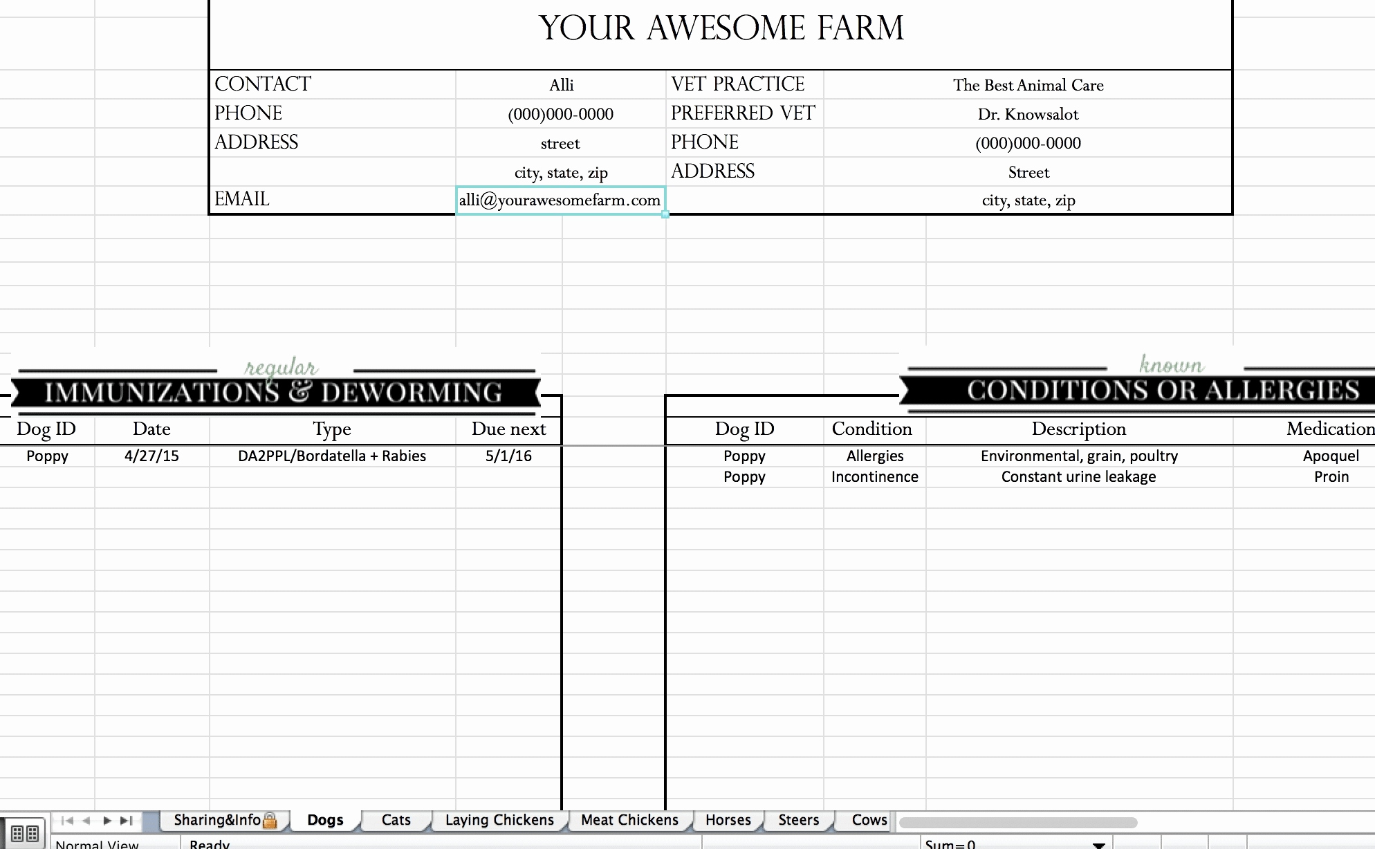 50 Unique Free Cattle Record Keeping Spreadsheet   Document Ideas To Farm Record Keeping Spreadsheets