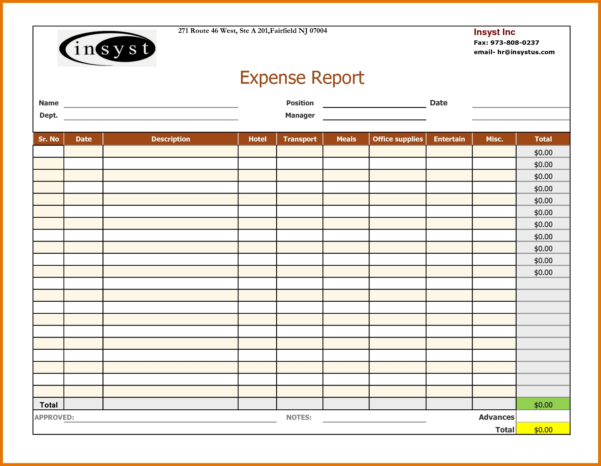 6 Expense Report Templates | Itinerary Template Sample Throughout Within Expense Report Spreadsheet Template