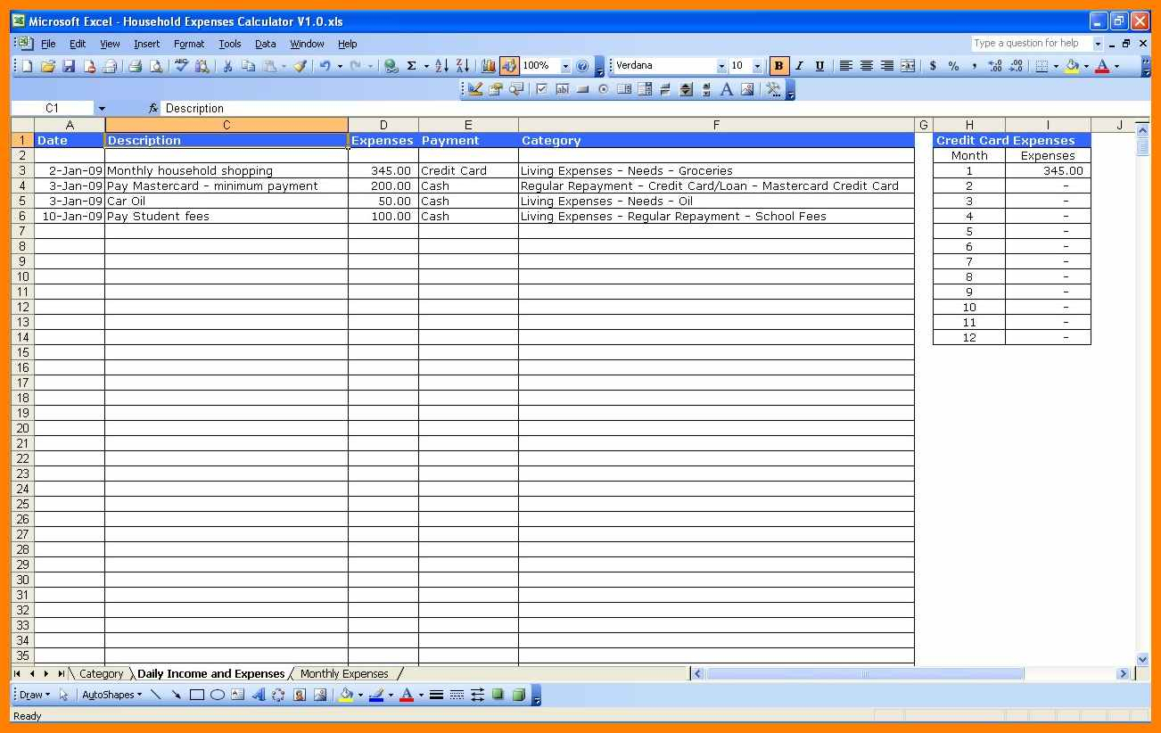 6  Spreadsheet For Household Bills | Credit Spreadsheet With Spreadsheet For Household Expenses