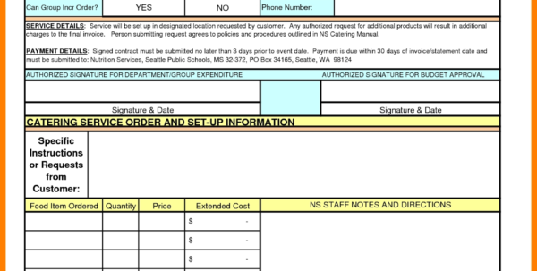 8 Catering Invoice Excel | Cna Resumed Inside Catering Service Inside Catering Service Invoice