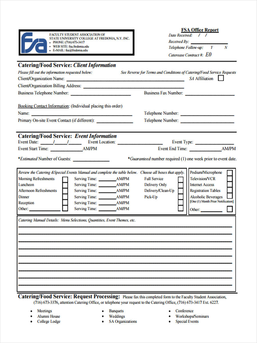 8  Catering Invoice Form Sample   Free Sample, Example Format Download To Catering Service Invoice