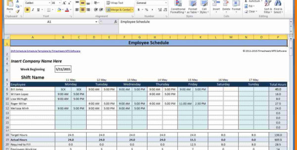 8  Employee Schedule Spreadsheet | This Is Charlietrotter In Scheduling Spreadsheet