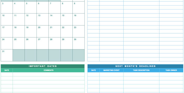 9 Free Marketing Calendar Templates For Excel   Smartsheet In Marketing Tracking Spreadsheet