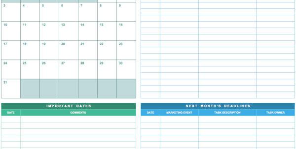 9 Free Marketing Calendar Templates For Excel   Smartsheet In Marketing Tracking Spreadsheet