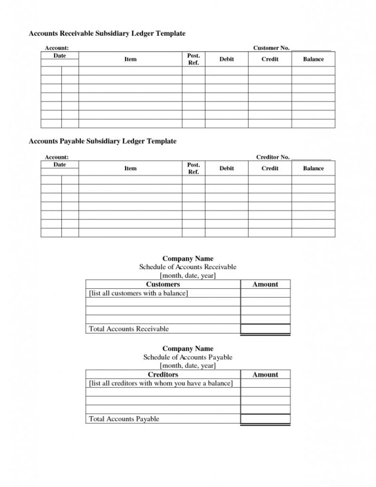 Accounts Receivable Subsidiary Ledger Template   Templates : Resume To Free Accounts Payable Ledger Template