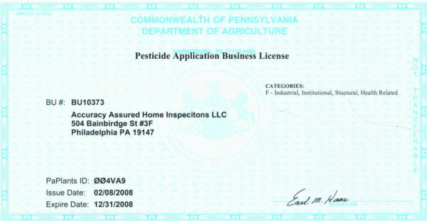 Accuracy Assured Home Inspections, Llc's Certifications, Credentials Intended For Business License Samples