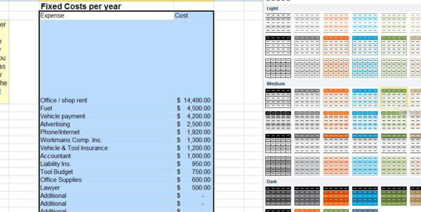 Advanced Excel: Know Your Costs | Thisiscarpentry With How To Make A Small Business Budget Spreadsheet