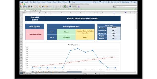 Aircraft Maintenance Tracker | Spreadsheet   Excel Pilot Logbook To Maintenance Tracking Spreadsheet
