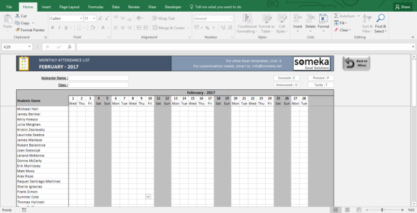 Attendance Sheet   Printable Excel Template | Free Download Throughout Excel Spreadsheet Download