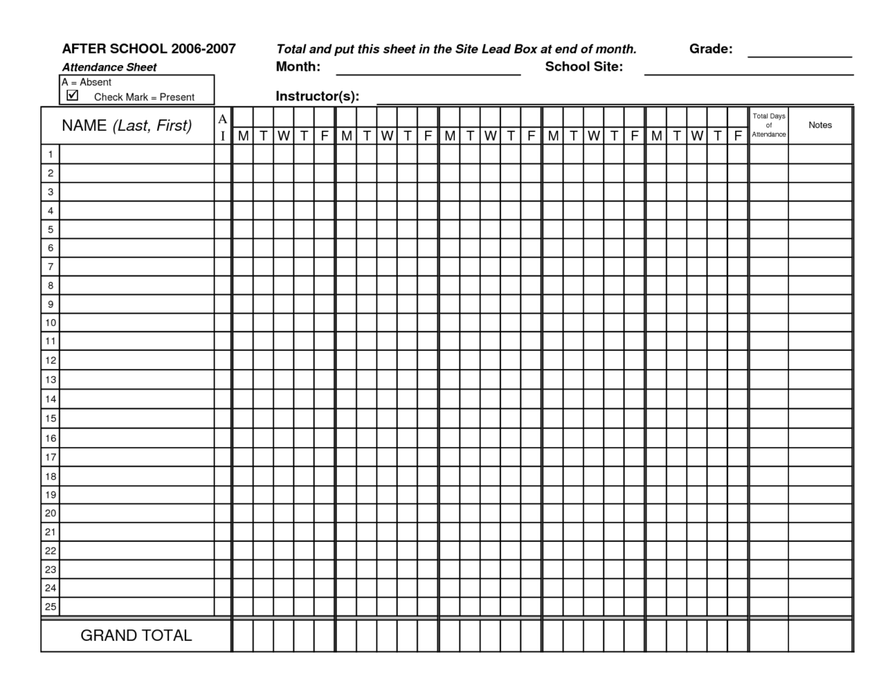 Attendance Tracking Sheet Template 8   Down Town Ken More Intended For Attendancetracking Spreadsheet Template