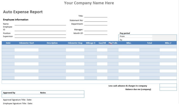 Auto Expense Report – Word Template – Microsoft Word Templates With Microsoft Expense Report Template