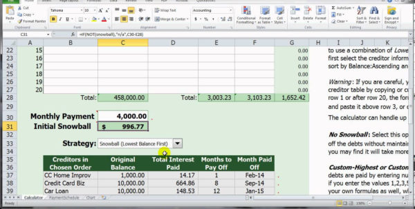 Avalanche Debt Reduction Spreadsheet | Papillon Northwan And Debt Reduction Spreadsheet Free