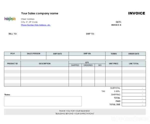 Backorder Invoice Template (Landscape) Inside Landscaping Invoice Template