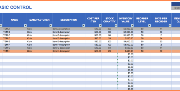 Bakery Inventory Spreadsheet Free Download | Homebiz4U2Profit In Bakery Inventory Spreadsheet