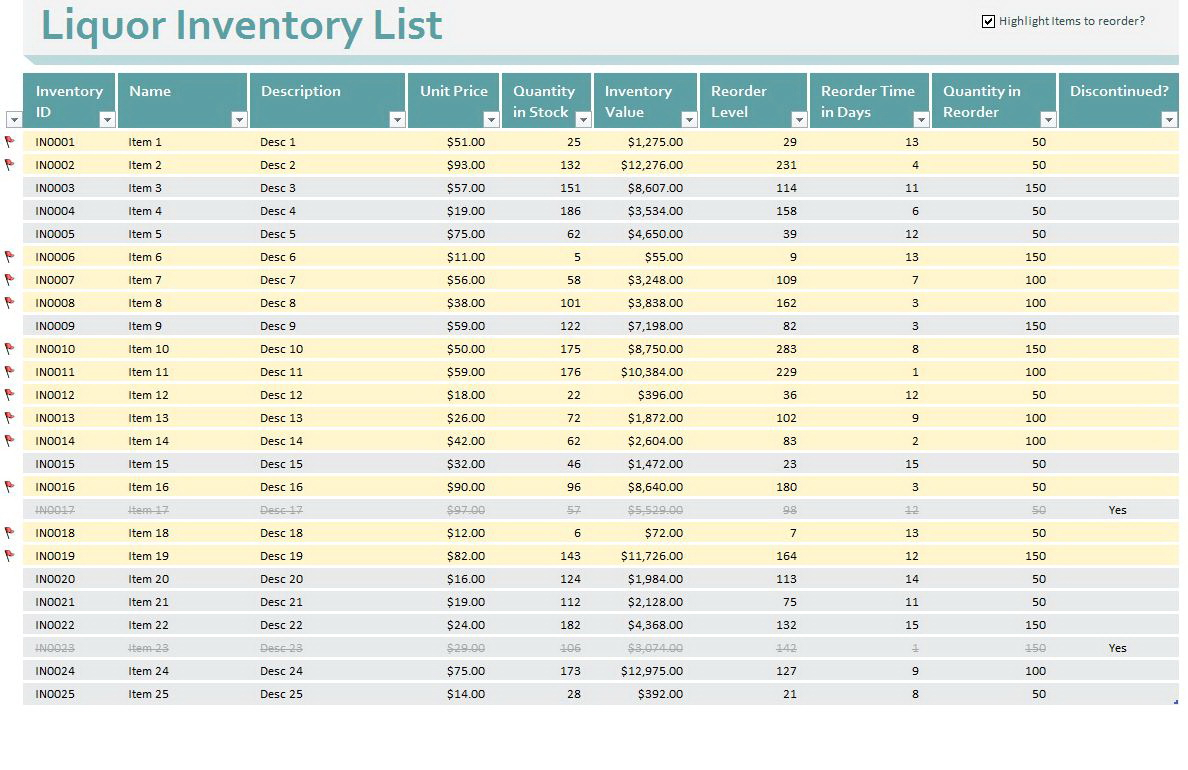 Bar Inventory Form | Resume Examples In Bar Inventory Templates