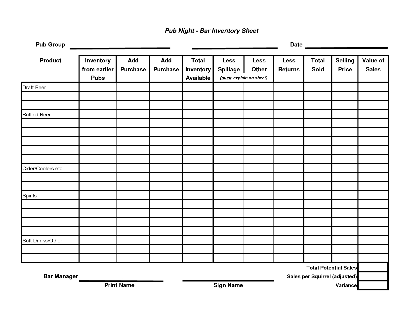 Best Photos Of Beer And Liquor Inventory Sheets   Free Liquor For Bar Inventory Sheet Template Free