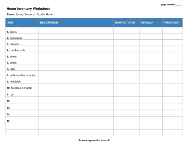 Best Photos Of Household Inventory Worksheet Free Printable Home And Household Inventory Spreadsheet