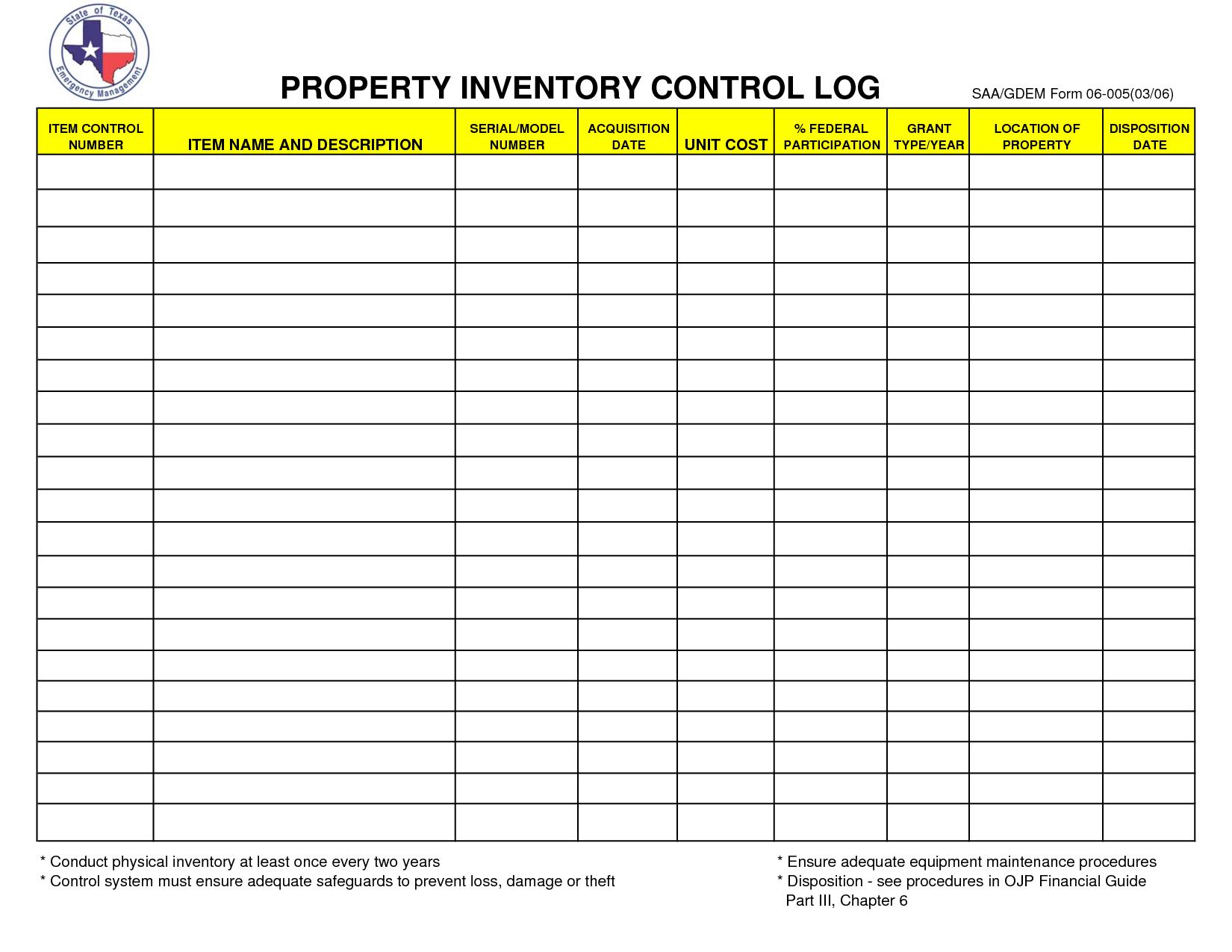 Inventory Control Form Template — db-excel.com