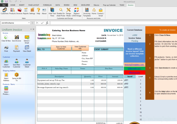 Bill Format For Catering And Wedding Service With Catering Service Invoice