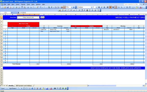 Bill Payment Calendar | Excel Templates For Billing Spreadsheet Template