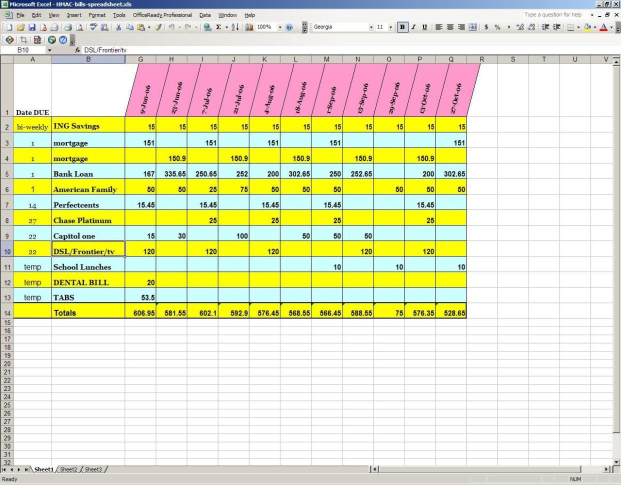 Bill Spreadsheet On Online Spreadsheet Budget Spreadsheet Template Throughout Bills Spreadsheet Template