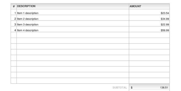 Billing Invoice Template Excel | Invoice Sample Template | Invoice In Billing Invoice Sample