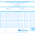 Biweekly Timesheet Template   Free Excel Templates   Clicktime Intended For Payroll Weekly Timesheet Template