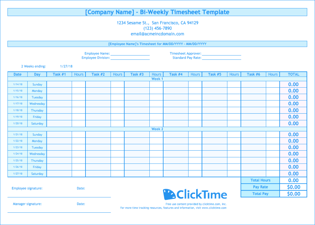 Biweekly Timesheet Template | Free Excel Templates | Clicktime Intended For Payroll Weekly Timesheet Template