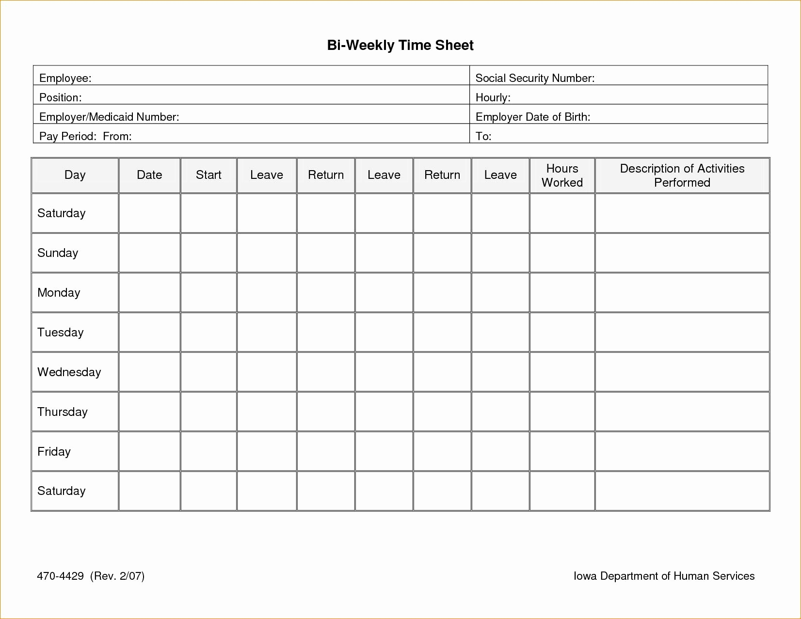 Biweekly Timesheet Template Readable Time Clock Hours Calculator For Time Clock Sheet Template