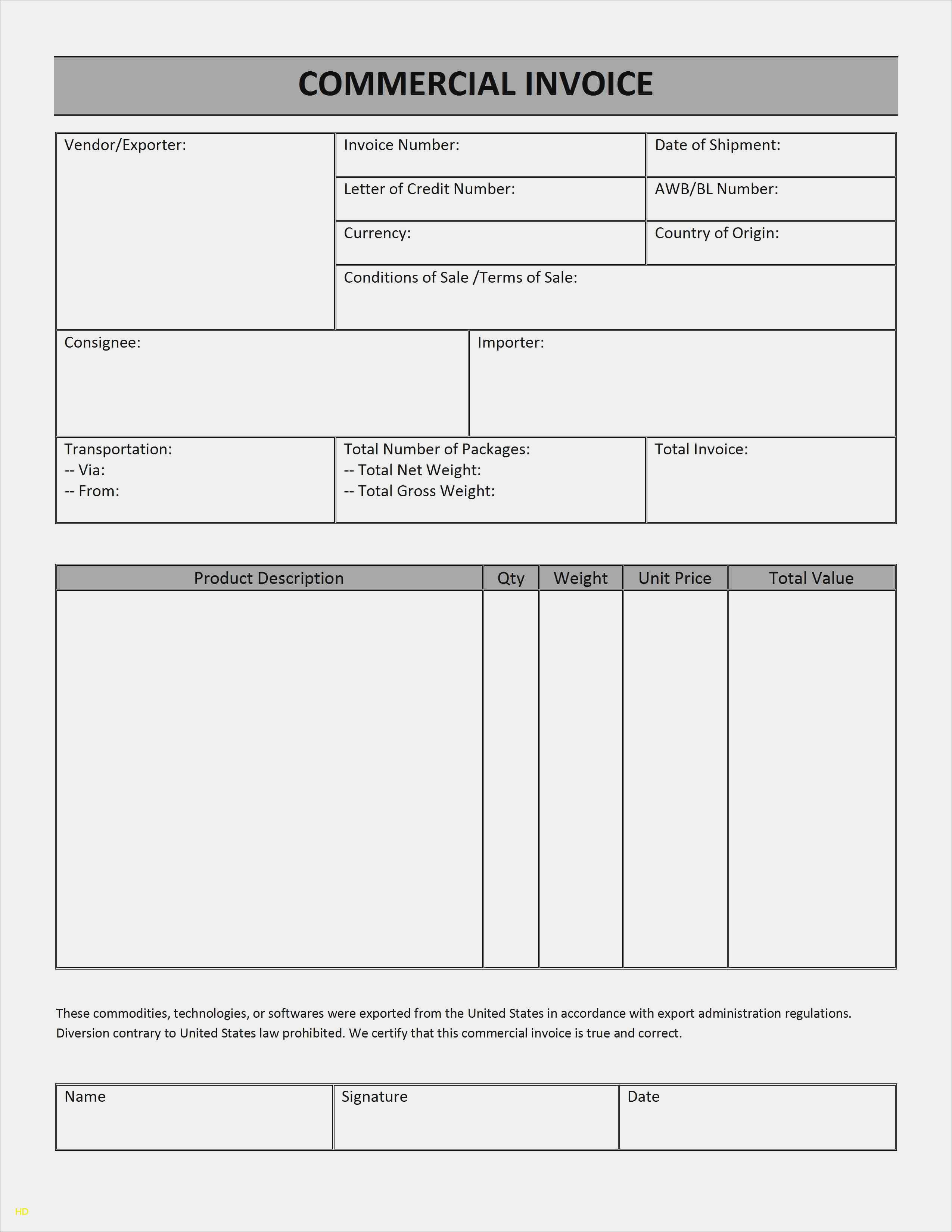 Blank Commercial Invoice Shipping Invoice Template : Free Invoice In Shipping Invoice Template