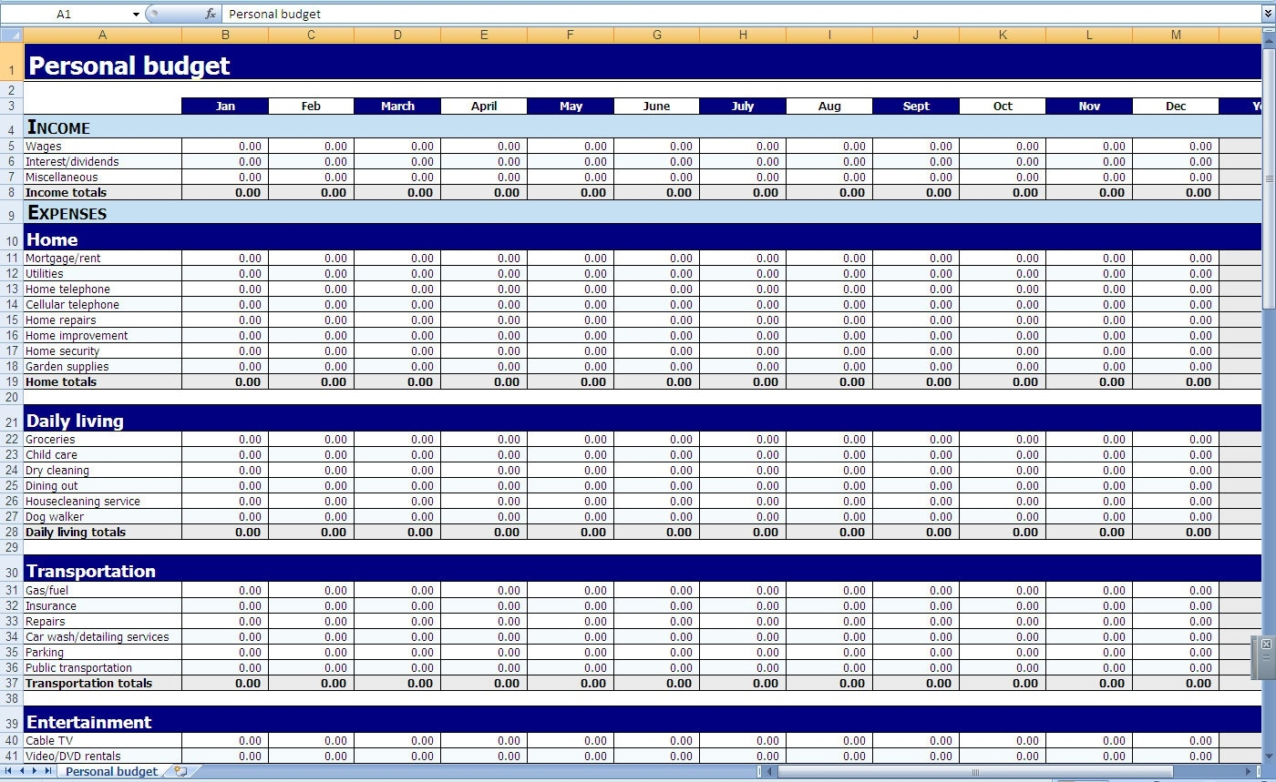 Blank Monthly Budget Excel Spreadsheet – Template Calendar Design With Spreadsheet For Household Budget