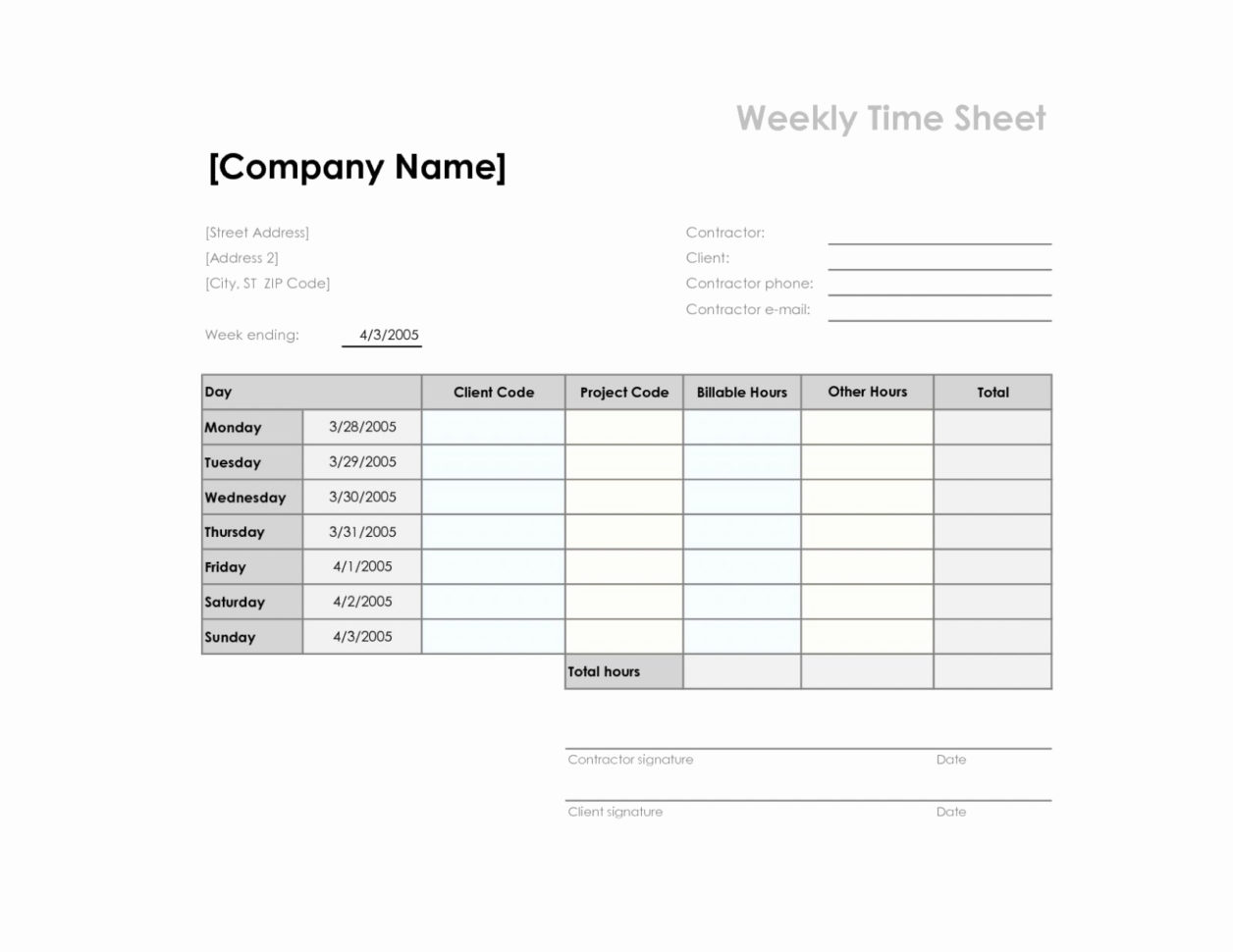 Blank Timesheet Template Free Accomplished Free Employee Time In Employee Hour Tracking Template
