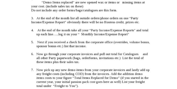 Bookeeping Instructionsindependent Scentsy Consultant **idea To Office Expense Report
