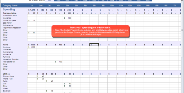 Budget Planner   Daily Spending Spreadsheet And Spreadsheet Budget Planner