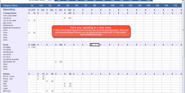 Budget Planner   Daily Spending Spreadsheet Inside Tracking Spending Spreadsheet