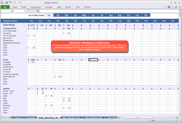 Budget Planner   Daily Spending Spreadsheet Within Budget Planner Spreadsheet