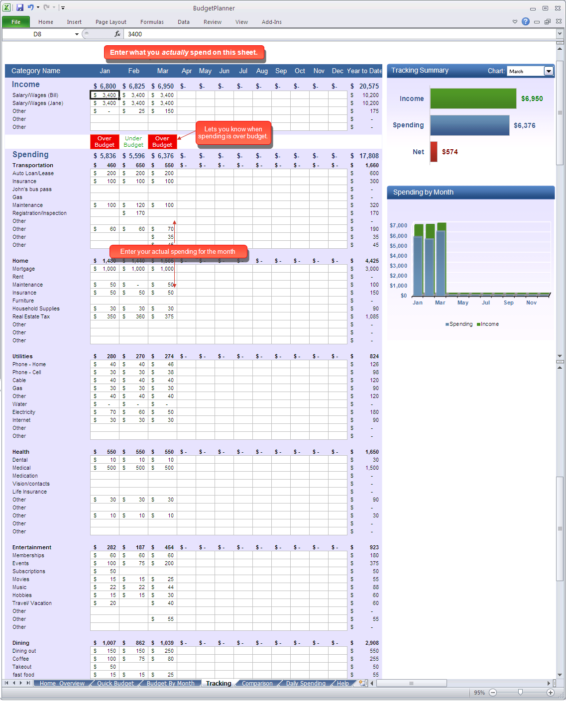 Budget Planner   Tracking Spreadsheet With Tracking Spending Spreadsheet