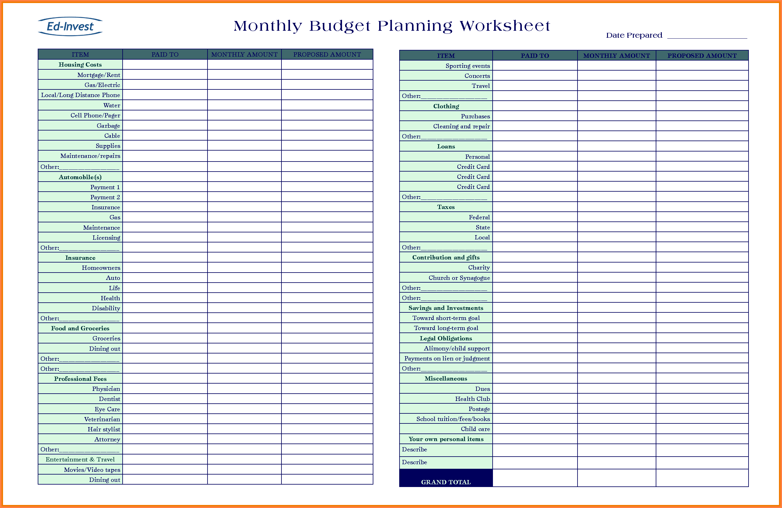 Budget Planning Spreadsheet Plannerorksheet Picture Highest Quality Intended For Spreadsheet Budget Planner