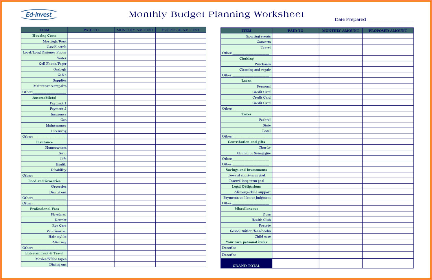 Budget Planning Spreadsheet Plannerorksheet Picture Highest Quality With Budget Planner Spreadsheet