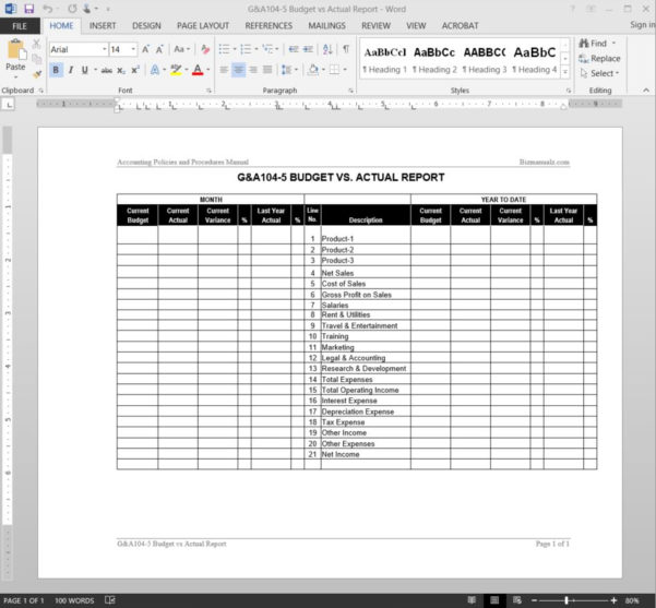 Budget Vs Actual Report Template In Business Operating Expense Template