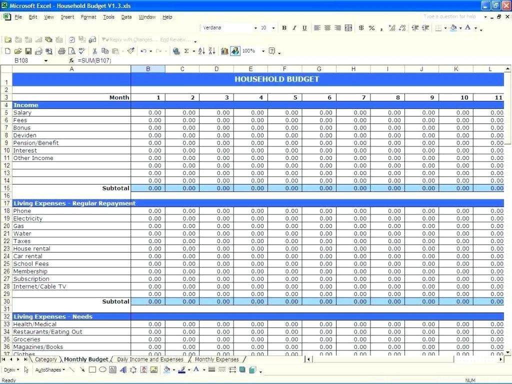 Budget Worksheet Household Expense Template Family Expenses And Spreadsheet For A Budget