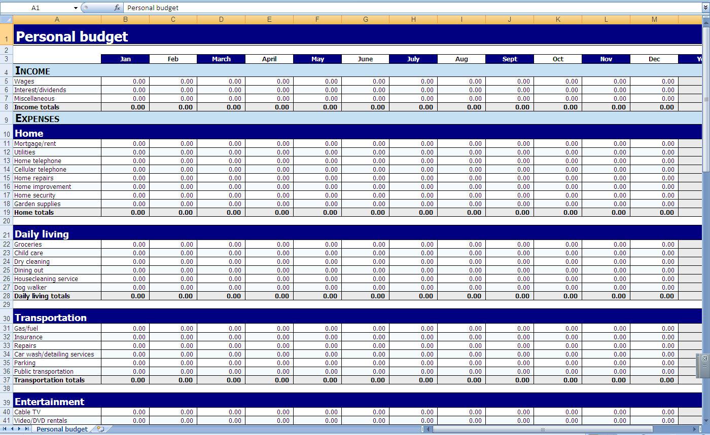 Budgeting Xls - Durun.ugrasgrup inside Small Business Budget Planner Template