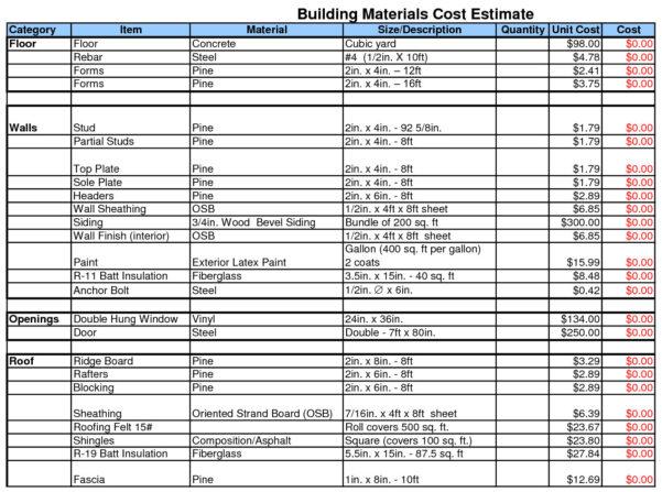 Building Calculator | Building Materials Cost Estimate Sheet For Home Building Cost Estimate Spreadsheet