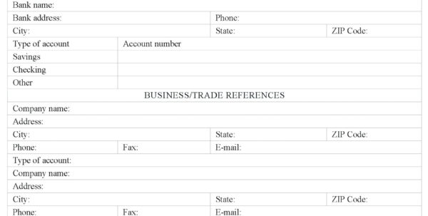 Business Credit Application Form Template Free Great Cards Nz Within Business Credit Reference Form