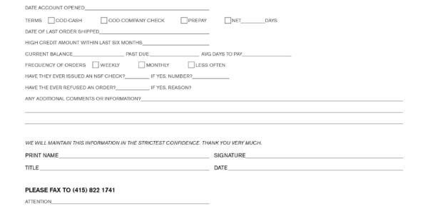 Business Credit Check Form Template Elegant Business Credit Throughout Business Credit Reference Form