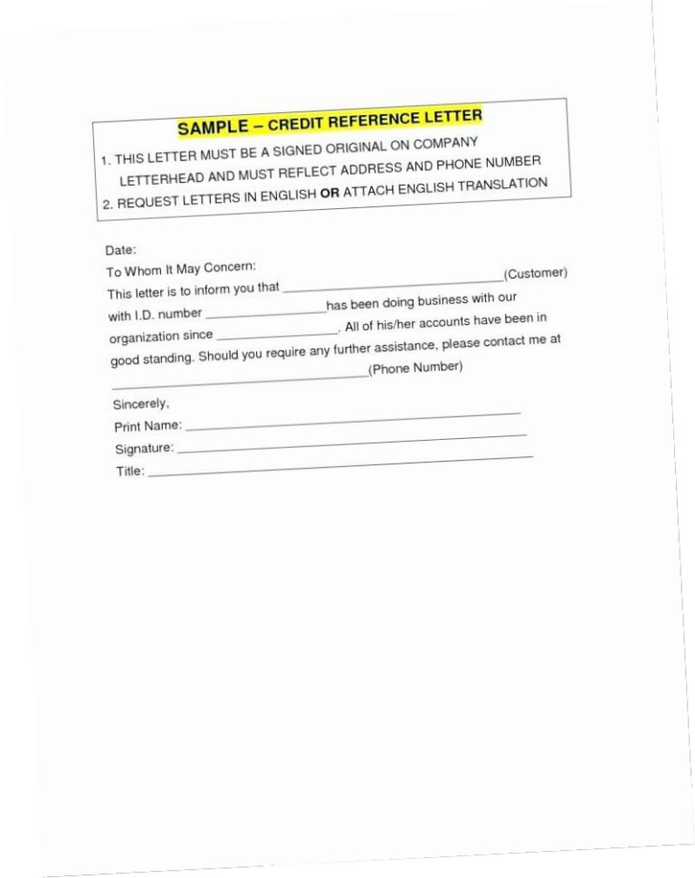 Business Credit Reference Form Awp9 Request For Bank Credit To Business Credit Reference Form