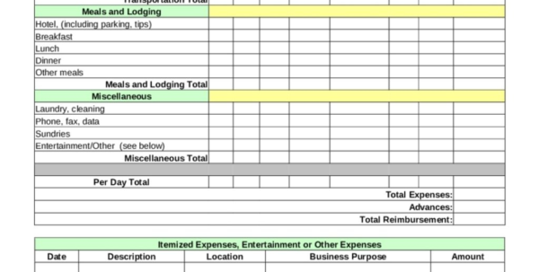Business Expense Form Template Free Gallery   Business Cards Ideas Throughout Business Expense Form Template Free