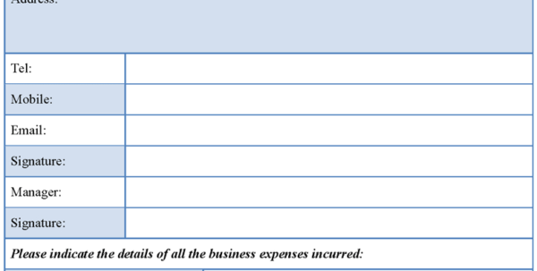 Business Expense Form Template : Sample Forms Within Business Expenses Form Template
