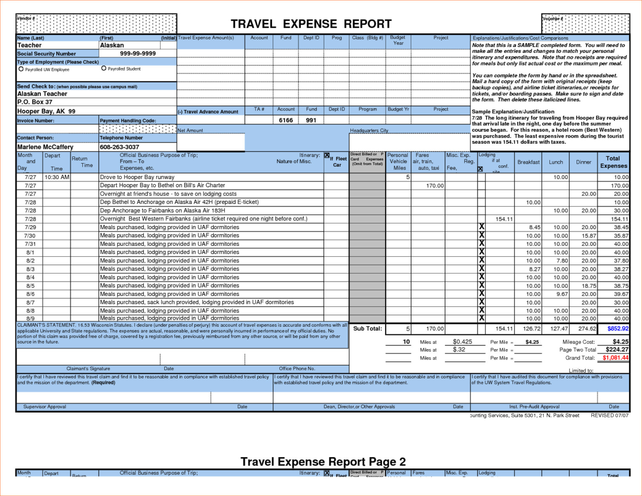 Business Expense Report Template Free New Sample Expense Bud Inside Business Expense Template Free