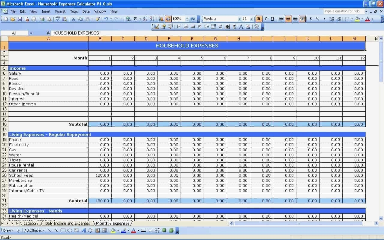 Business Expense Spreadsheet Template Small For Income And Expenses Throughout Business Income Spreadsheet Template